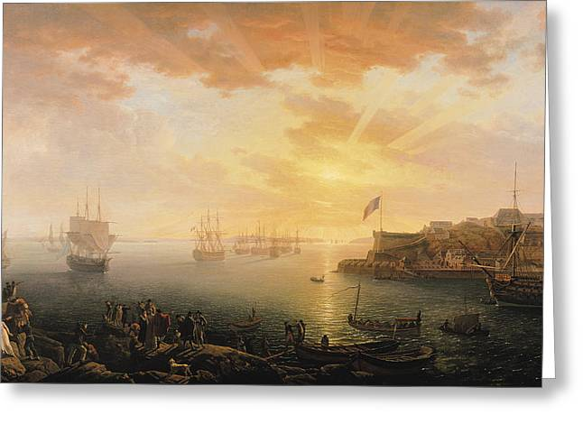 View Of Brest Harbor Greeting Card by Jean Francois Hue