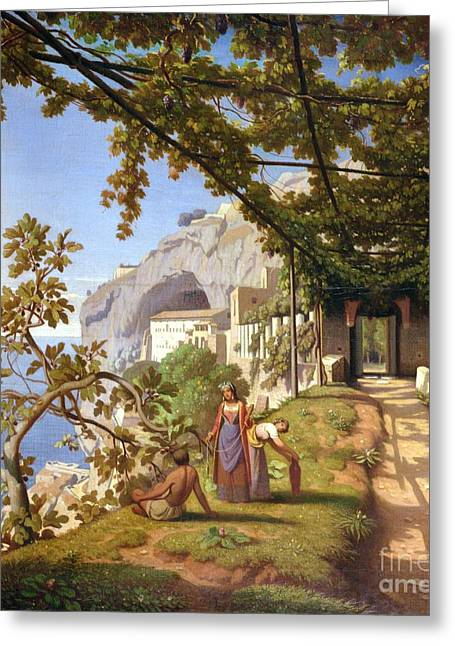Grape Vines Paintings Greeting Cards - View of Capri Greeting Card by Theodore Aligny