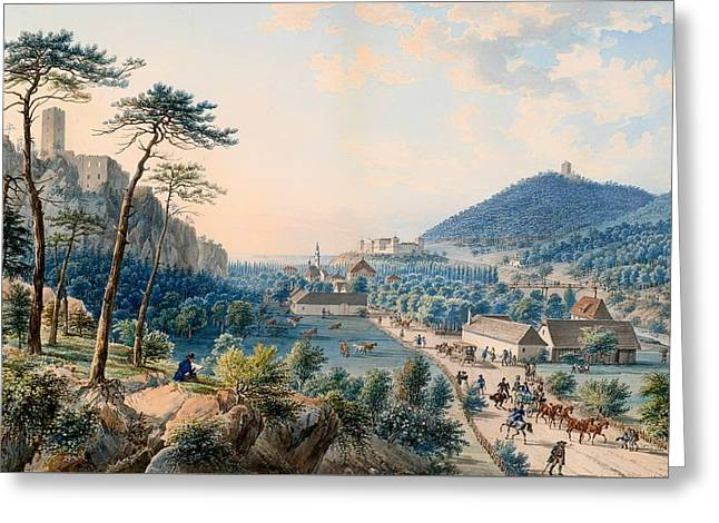 Mountain Valley Greeting Cards - View of Castle Weilburg - Lower Austria Greeting Card by Johann Raulino