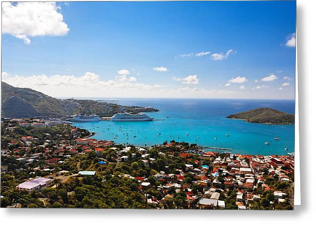 View Of Charlotte Amalie St Thomas Us Virgin Islands Greeting Card by George Oze