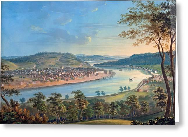 View Of Cincinnati From Covington Greeting Card by John Caspar Wild