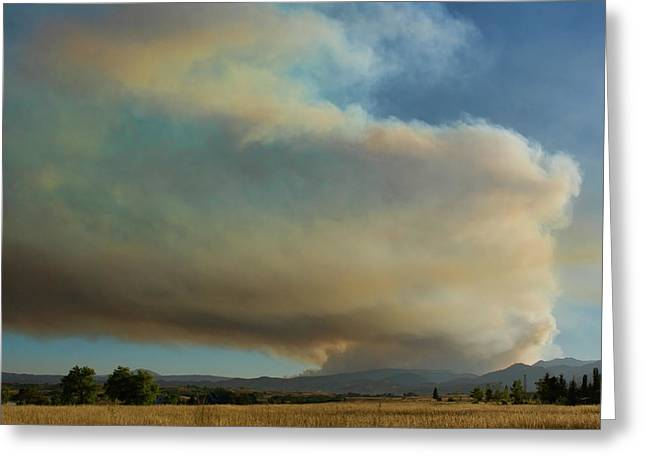 The Lightning Man Greeting Cards - View of Colorado Fourmile Wildfire from the North. Greeting Card by James BO  Insogna