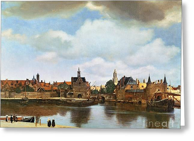 Village Scenes Greeting Cards - View of Delft Greeting Card by Jan Vermeer