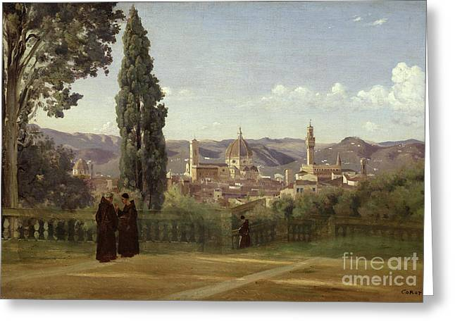 Campanile Greeting Cards - View of Florence from the Boboli Gardens Greeting Card by Jean Baptiste Camille Corot