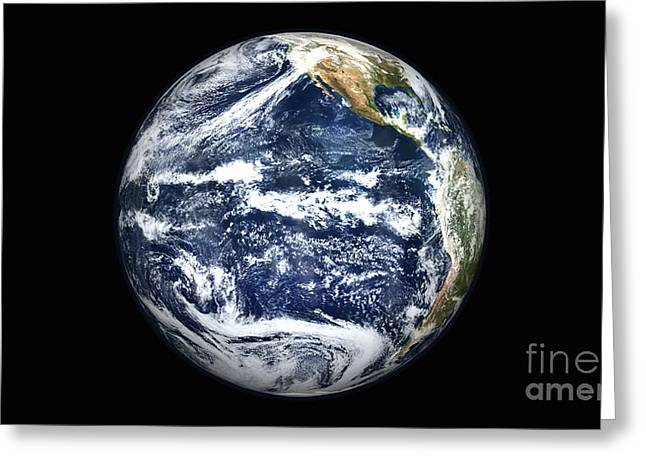 Blue Planet Greeting Cards - View Of Full Earth Centered Greeting Card by Stocktrek Images