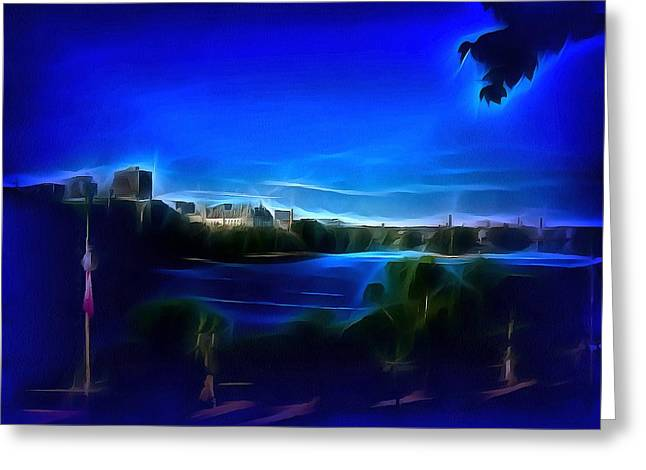 Print On Canvas Greeting Cards - View of Gatineau Across the River Greeting Card by Mario Carini