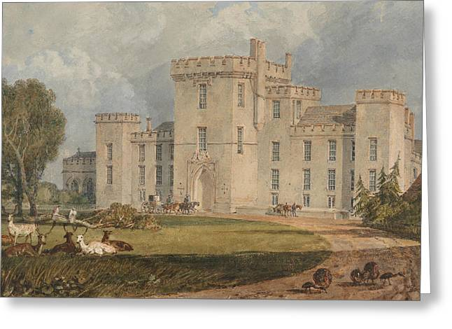 View Of Hampton Court, Hertefordshire, From The Northwest Greeting Card by Joseph Mallord William Turner