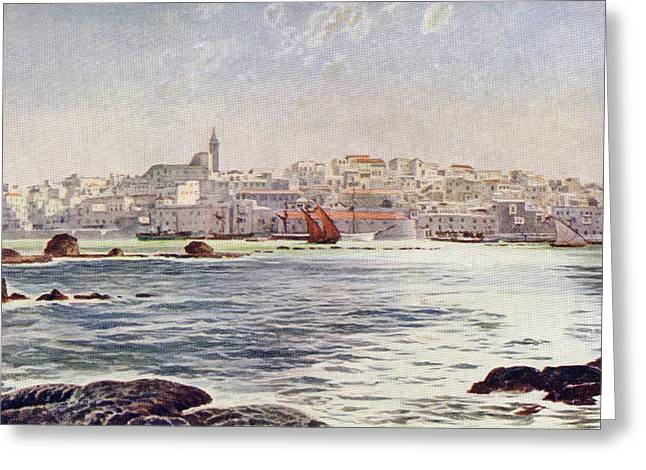 Port Town Drawings Greeting Cards - View Of Jaffa, Palestine From The Sea Greeting Card by Ken Welsh