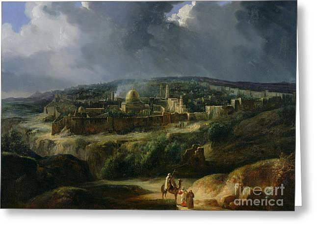 Town Walls Greeting Cards - View of Jerusalem from the Valley of Jehoshaphat Greeting Card by Auguste Forbin