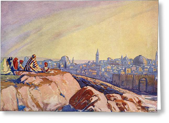 Calvary Greeting Cards - View Of Jerusalem, Palestine Seen From Greeting Card by Ken Welsh