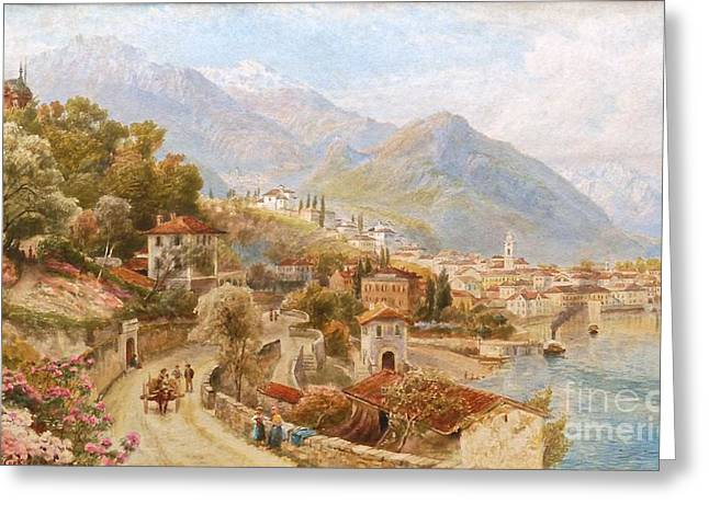 Nature Scene Paintings Greeting Cards - View Of Lake Orta Greeting Card by MotionAge Designs