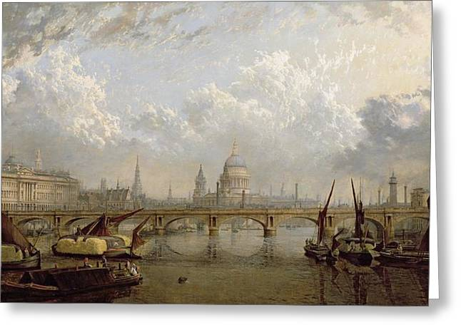 Thames River Greeting Cards - View of London  Greeting Card by John MacVicar Anderson