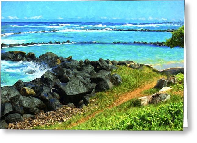 Lahaina Greeting Cards - View of Lydgate Beach Park Kauai Greeting Card by Dominic Piperata