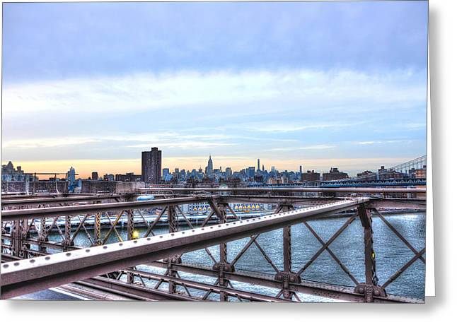 Brooklyn Bridge Park Greeting Cards - View of Manhattan from the Brooklyn Bridge Greeting Card by Randy Aveille