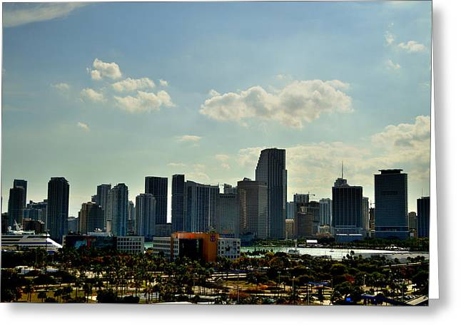 Blue Green Water Greeting Cards - View of Miami on a Sunny Day Greeting Card by Srinivasan Venkatarajan