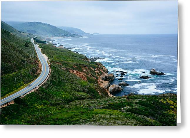Big Sur Greeting Cards - View of mountains along the coast and Pacific Coast Highway in Big Sur California Greeting Card by Jon Bilous