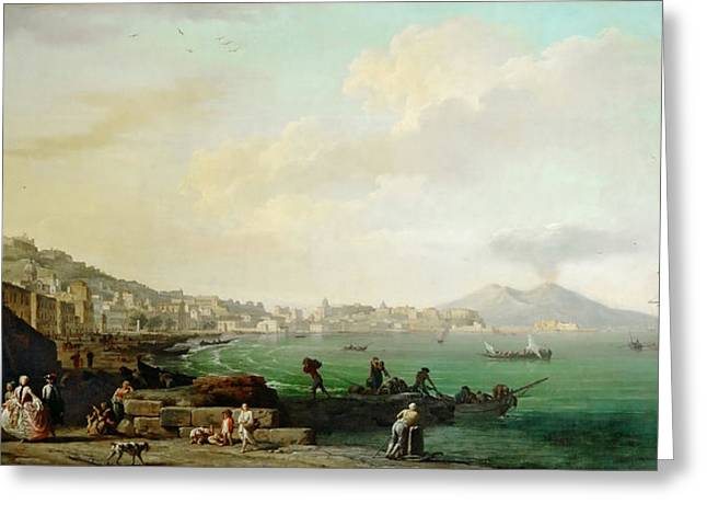 View Of Naples And Mount Vesuvius Greeting Card by Celestial Images
