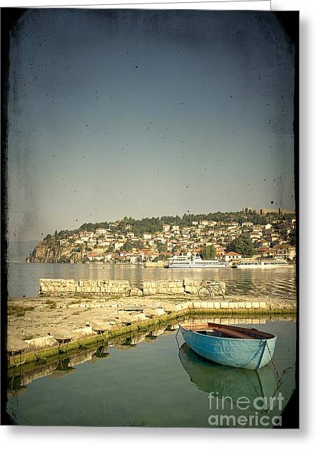 Paradise Pier Attraction Greeting Cards - View of Ohrid Lake and Town #1 Greeting Card by A Cappellari