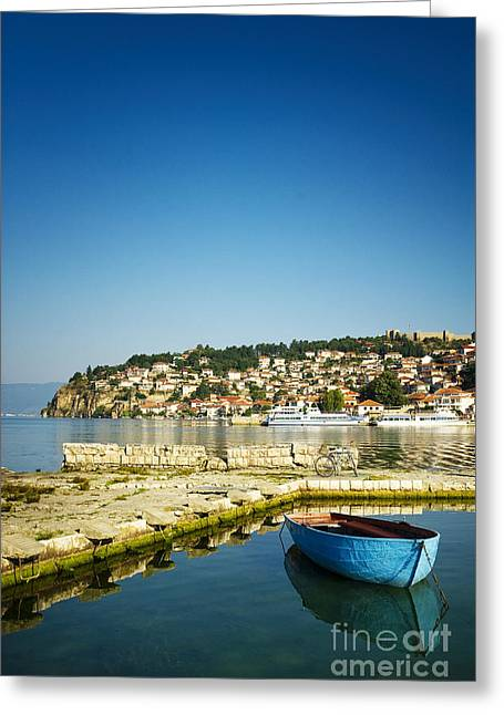 Paradise Pier Attraction Greeting Cards - View of Ohrid Lake and Town #2 Greeting Card by A Cappellari