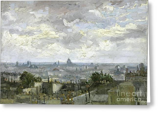 Vintage Painter Greeting Cards - View of Paris Greeting Card by Van Gogh