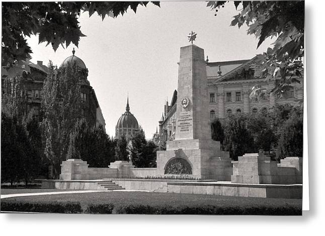 Dome Reliefs Greeting Cards - View of Parliament from Liberty Square, Budapest Greeting Card by James Dougherty