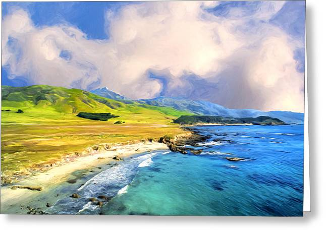 Big Sur Beach Greeting Cards - View of Point Sur Greeting Card by Dominic Piperata