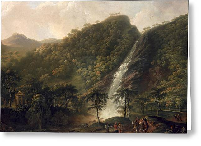 View Of Powerscourt Waterfall Greeting Card by George the Elder Barret