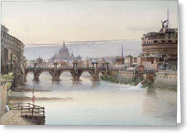 1860 Greeting Cards - View of Rome Greeting Card by I Martin
