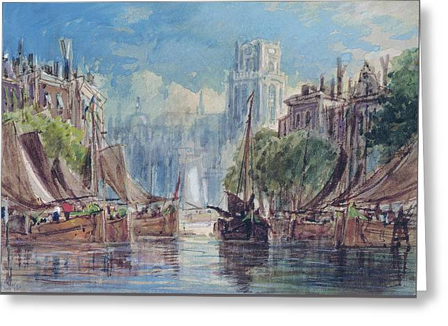 View Of Rotterdam Greeting Card by George Chambers