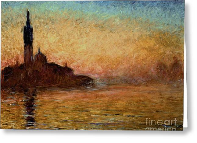 Italian Sunset Greeting Cards - View of San Giorgio Maggiore Greeting Card by Claude Monet