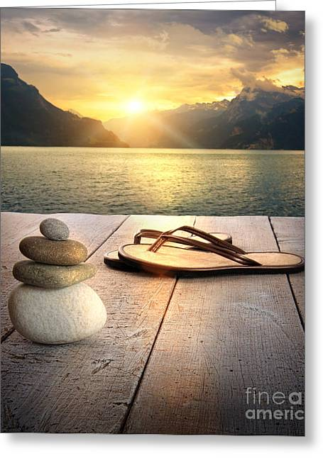 Therapy Digital Art Greeting Cards - View of sandals and rocks on dock  Greeting Card by Sandra Cunningham