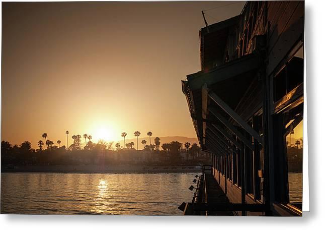 View Of Setting Sun Over Santa Barbara, Ca Greeting Card by Bradley Hebdon