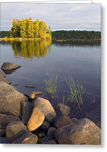 Canoe Greeting Cards - View Of Small Island From Rocky Shore Greeting Card by Panoramic Images
