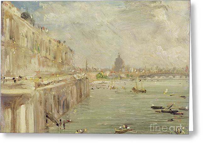 Thames River Greeting Cards - View of Somerset House Terrace and St. Pauls Greeting Card by John Constable
