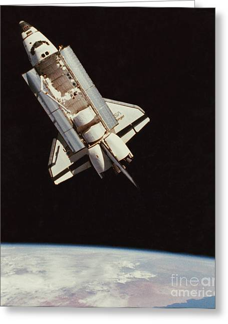 Challenger Greeting Cards - View Of Space Shuttle Greeting Card by NASA / Science Source