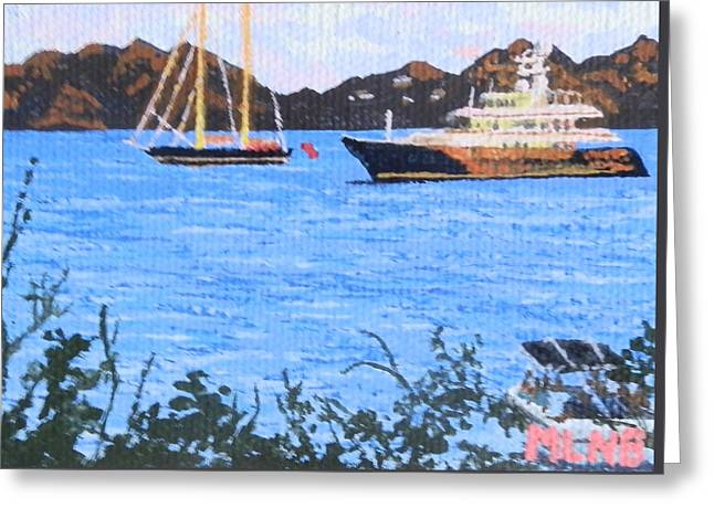 St Margaret Paintings Greeting Cards - View of St. Martin from Anguilla Greeting Card by Margaret Brooks