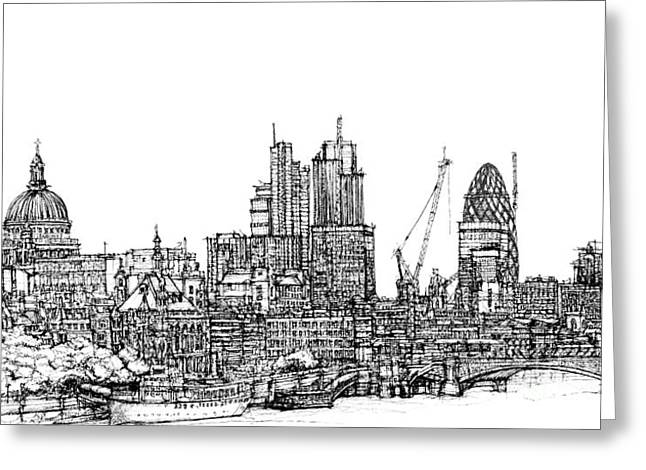 City Skylines Framed Prints Greeting Cards - View of St Pauls and The City  Greeting Card by Lee-Ann Adendorff