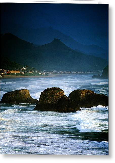 View Of Storm Over Cannon Beach From Greeting Card by Panoramic Images