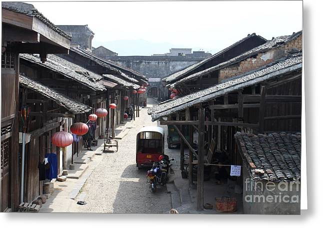 Hutong Greeting Cards - View of street in Daxu China Greeting Card by Thomas Marchessault