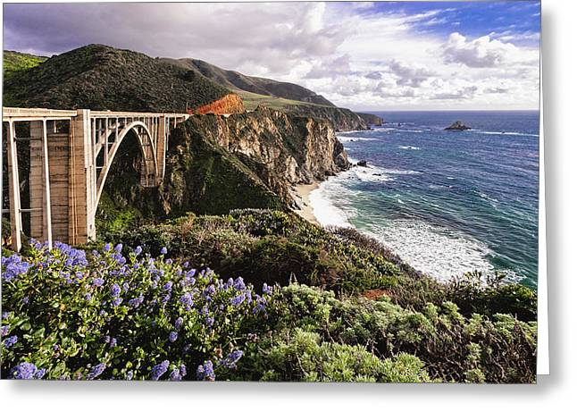 Bixby Bridge Greeting Cards - View of The Bixby Creek Bridge Big Sur California Greeting Card by George Oze