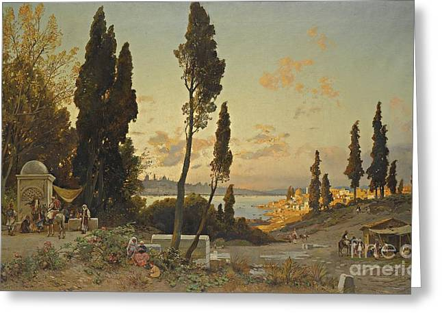 Hermann Greeting Cards - View of the Bosphorus Constantinople Greeting Card by Hermann David Salomon Corrodi