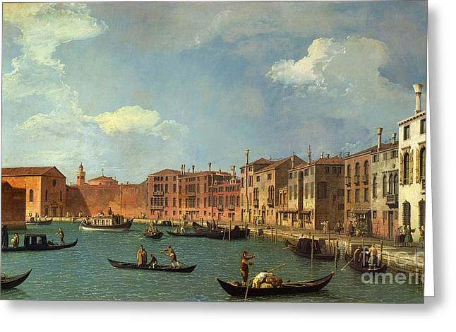 Cityscape Greeting Cards - View of the Canal of Santa Chiara Greeting Card by Canaletto