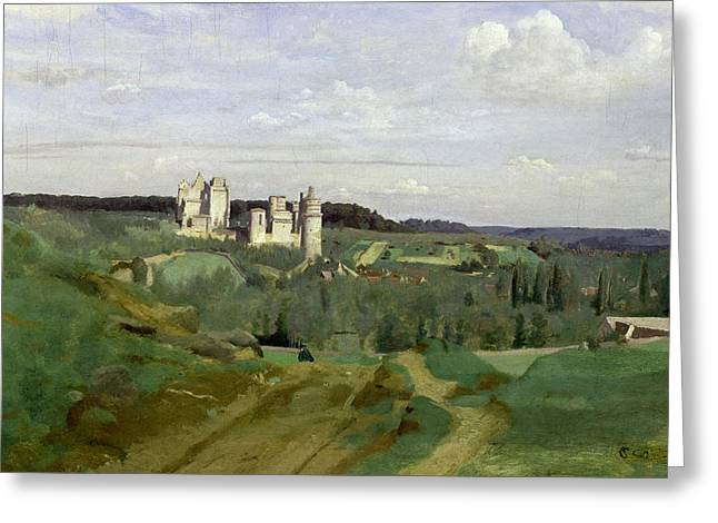 Corot Greeting Cards - View of the Chateau de Pierrefonds Greeting Card by Jean Baptiste Camille Corot