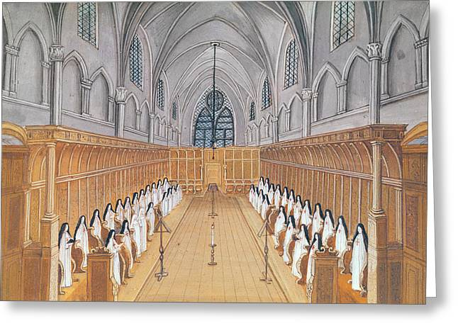 Hymn Greeting Cards - View of the Choir Greeting Card by Louise Madelaine Cochin