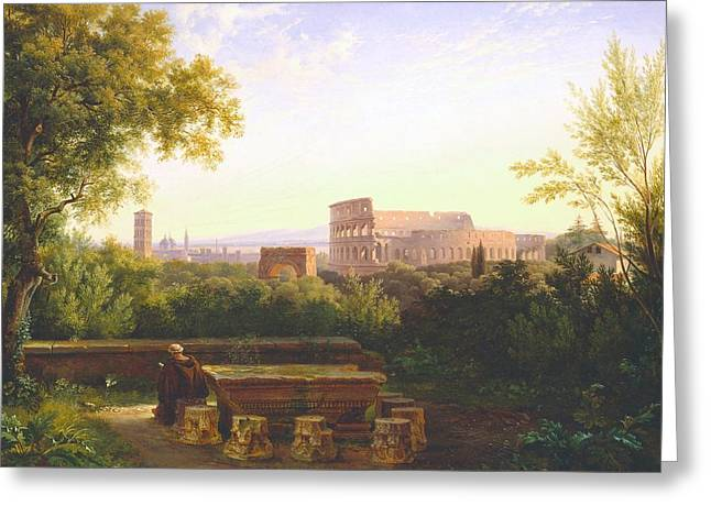 Capitol Greeting Cards - View of the Colosseum from the Orti Farnesiani Greeting Card by Antoine Felix Boisselier
