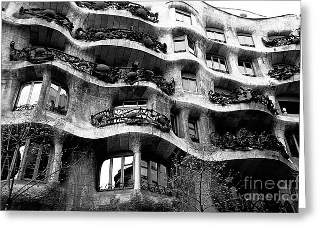 View Of The Exterior Of La Pedrera Building By Gaudi Greeting Card by Sami Sarkis