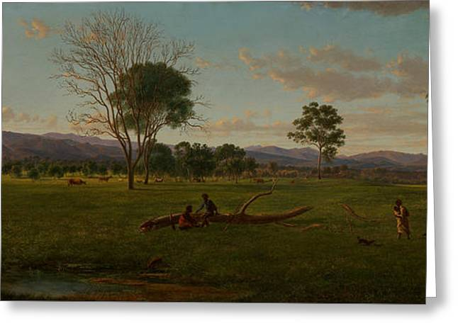 View Of The Gippsland Alps, From Bushy Park On The River Avon  Greeting Card by Eugene von Guerard