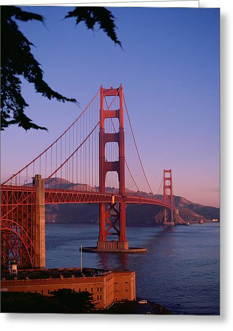 Engineering Greeting Cards - View of the Golden Gate Bridge Greeting Card by American School