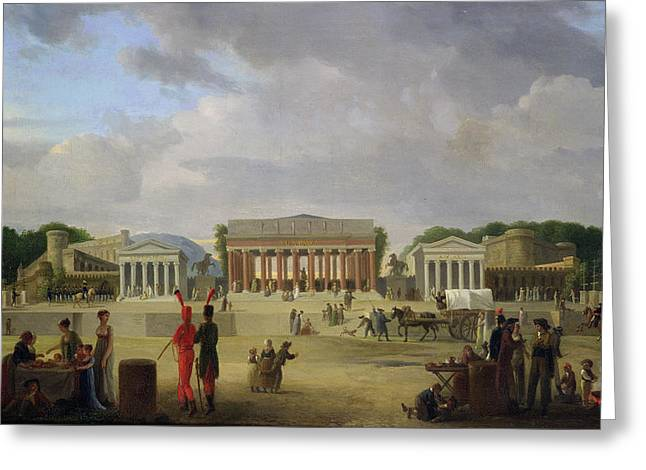 Horse And Cart Paintings Greeting Cards - View of the Grand Theatre Constructed in the Place de la Concorde for the Fete de la Paix Greeting Card by Jean Baptiste Louis Cazin