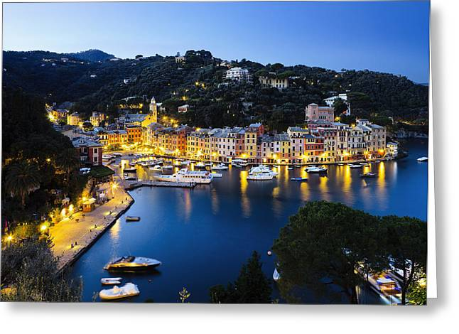 Italian Sunset Greeting Cards - View Of The Harbour At Dusk  Portofino Greeting Card by Yves Marcoux